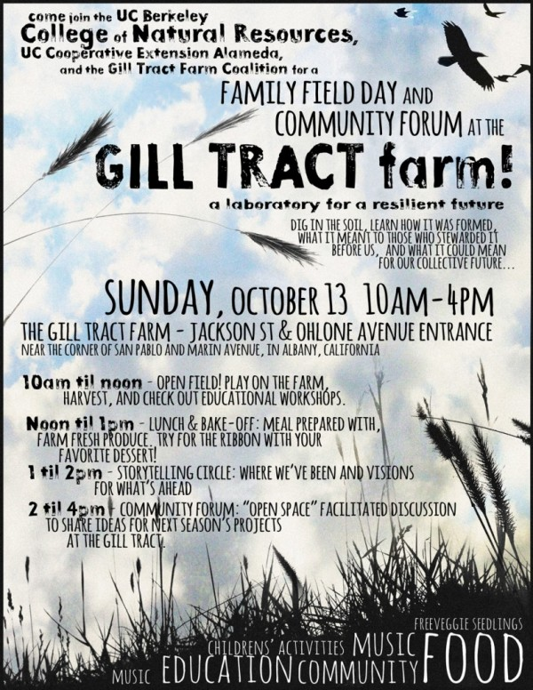 Come out on SUNDAY to the Gill Tract Farm for a Community Field Day!