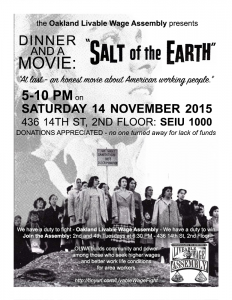 "Dinner and a Movie: OLWA Presents ""Salt of the Earth."" A Labor Film. @ SEIU 1000 Hall, 2nd floor 