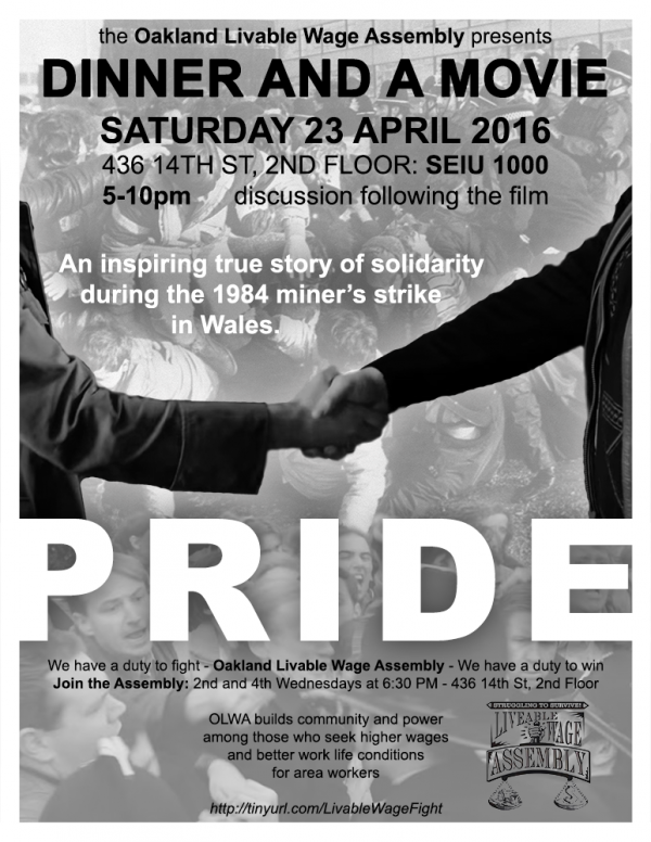 POSTPONED: Dinner and a (Great) Movie: Pride @ SEIU 1000 Hall, 2nd floor | Oakland | California | United States
