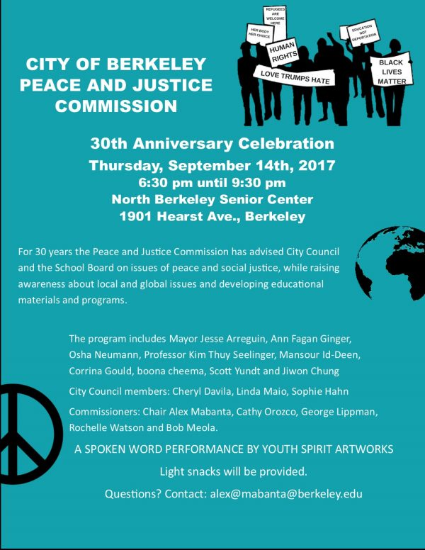 30th Anniversary of Berkeley's Peace and Justice Commission @ North Berkeley Senior Center | Berkeley | California | United States