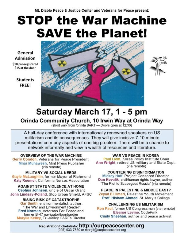 Stop the War Machine - SAVE the Planet! @ Orinda Community Church | Orinda | California | United States