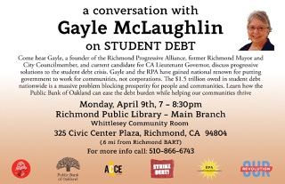 Forum on Student Debt and Public Banking @ Richmond Public Library | Richmond | California | United States
