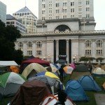Tents at Oscar Grant Plaza in front of City Hall