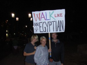 Protest sign: Walk like an Egyptian