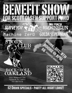 Flyer for Scott Olsen Benefit Show