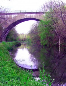 Schuylkill-Canal-At-Rail-Road-Bridge-In-Early-Spring