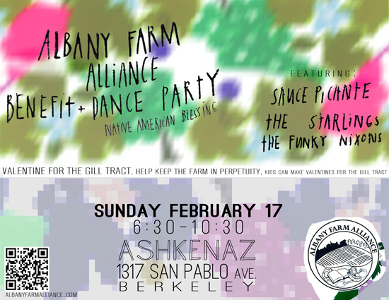 "FUNDRAISER CONCERT: ""A Valentine for the Gill Tract""  Sunday 2/17/13 6:30pm @ Ashkenaz 
