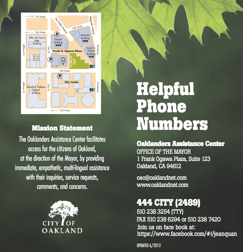 City Contact Information - Occupy Oakland