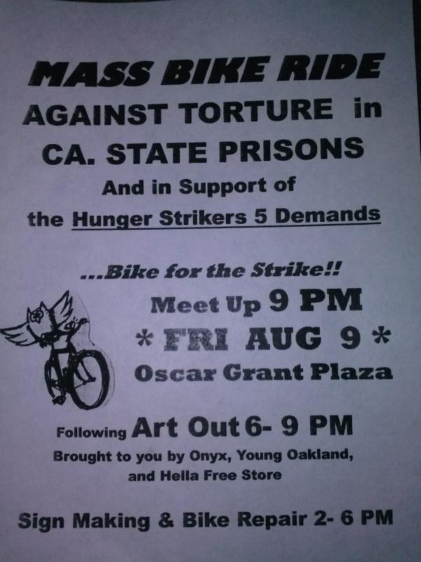 Mass Bike Ride Against Torture in CA State Prisons @ Oscar Grant Plaza | Oakland | California | United States