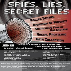 National Day of Action: Spies, Lies and Secret Files. Press Conference in SF. @ Northern California Regional Intelligence Center | San Francisco | California | United States
