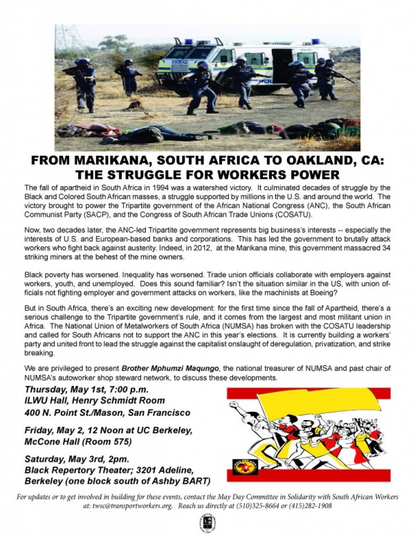 From Marikana, South Africa to Oakland: Building the Struggle. @ ILWU Local 10 Union Hall, Henry Schmidt Room | San Francisco | California | United States