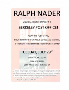 Ralph Nader on Privatization, the Post Office and the Fight to Dismantle the Corporate State @ Downtown Berkeley Post Office | Berkeley | California | United States