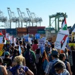 Protesters at the Port of Oakland on August 16th