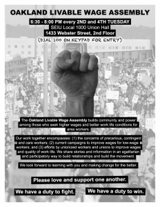 Livable Wage Assembly Planning Meeting for April 15th @ SEIU Local 1000 union hall, 2nd floor | Oakland | California | United States