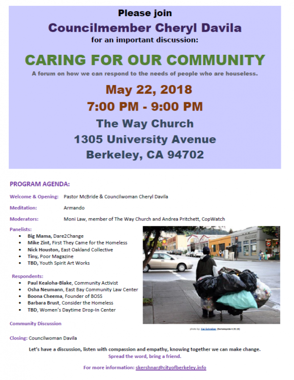 Caring for our Community – A Forum on how we can respond to the needs of those who are Houseless @ The Way Church | Berkeley | California | United States