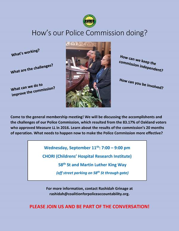 Police Commission Evaluation Community Meeting - Coalition for Police Accountability @ CHORI
