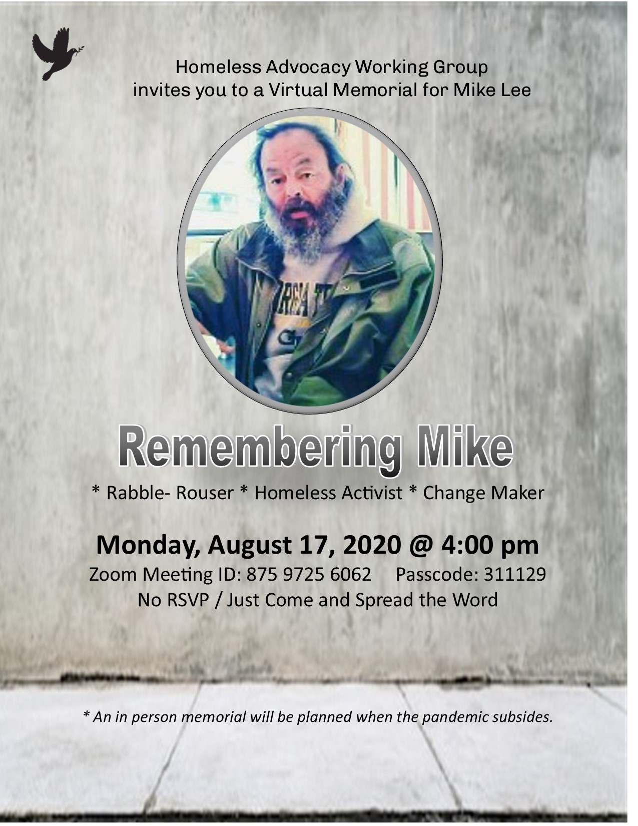 Memorial for Mike Lee @ ONLINE, VIA 'ZOOM'
